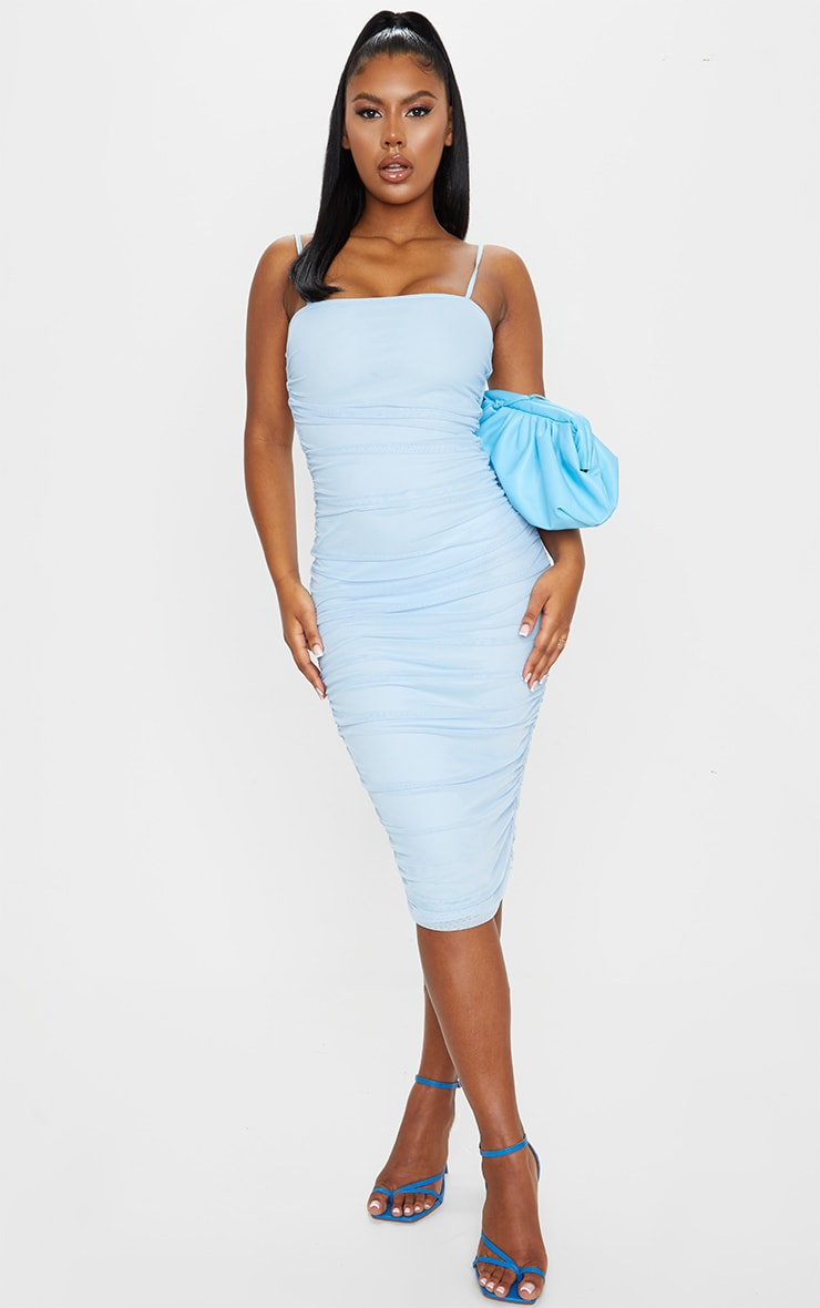 Baby Blue Strappy Mesh Midi Dress