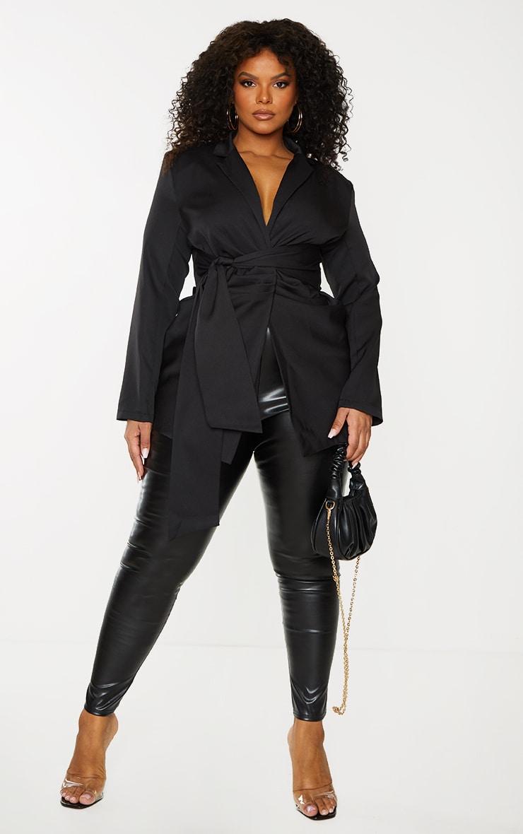 Plus Black Tie Front Gathered Detail Blazer