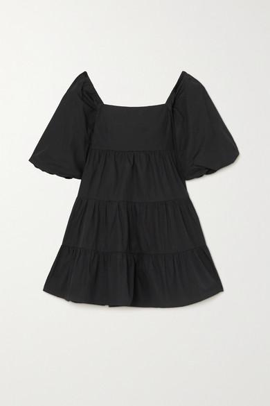 Faithfull The Brand - 【net Sustain】eryn 系带细节层接式纯棉府绸迷你连衣裙 - 黑色 - large
