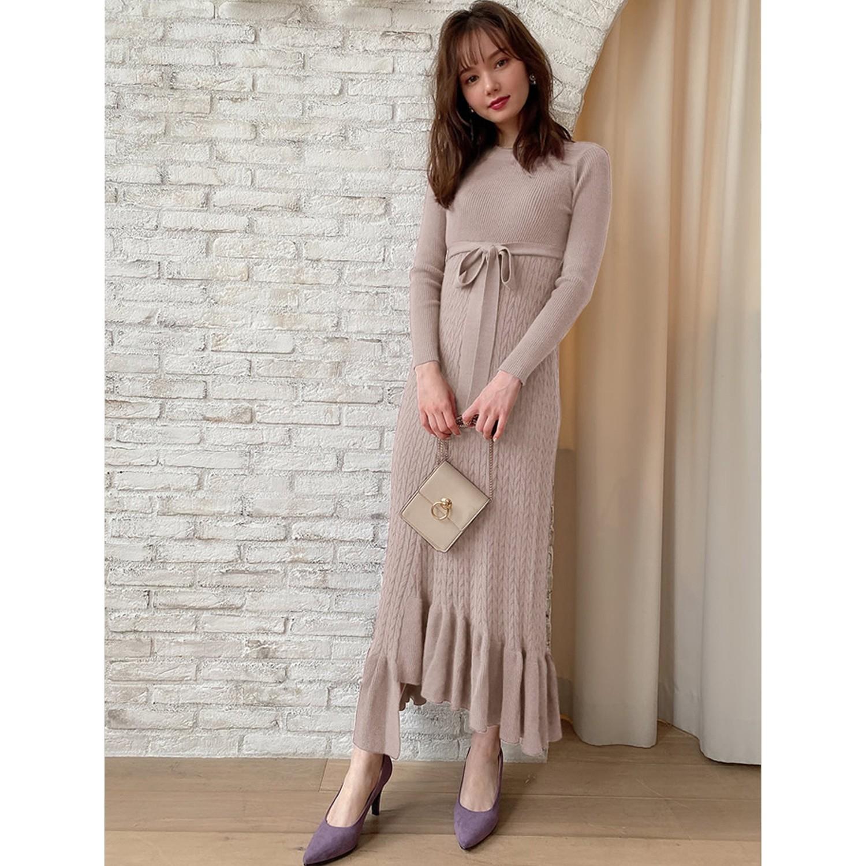 日本 GRL - 不規則荷葉襬針織長袖洋裝-氣質杏