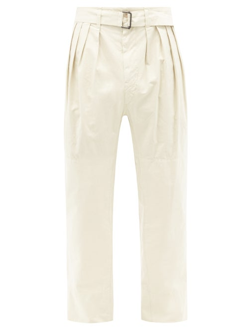 Lemaire - Pleated Straight-leg Cotton Trousers - Mens - Cream