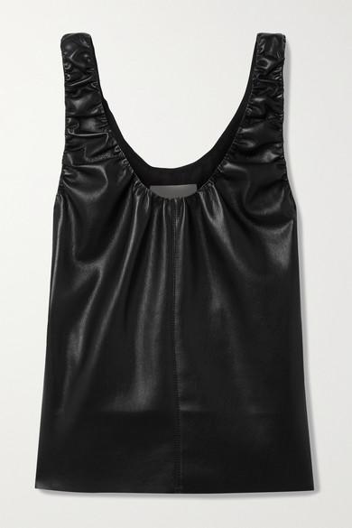 Nanushka - Yael 缩褶纯素皮革上衣 - 黑色 - x small