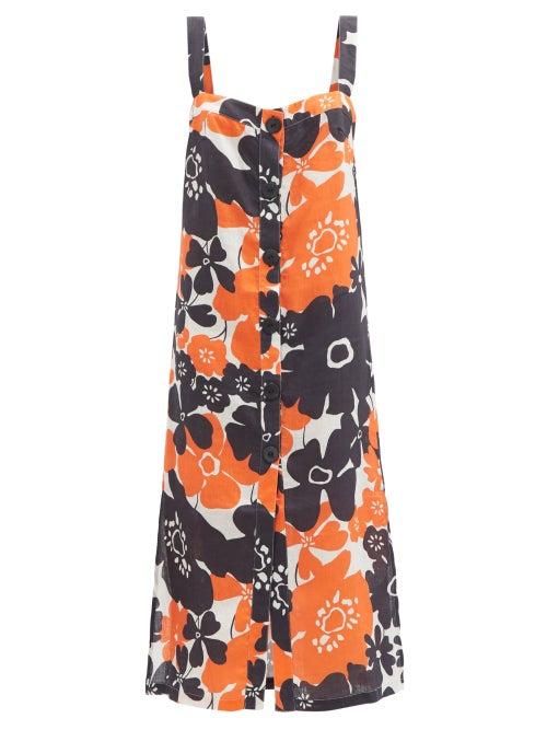 Cala De La Cruz - Tamara Floral-print Linen Midi Dress - Womens - Orange Print