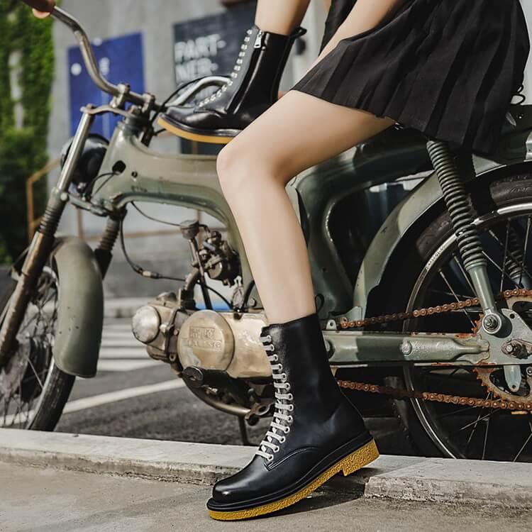VIVILIAN明星同款美腿顯瘦中筒厚底綁帶側拉鏈復古騎士靴