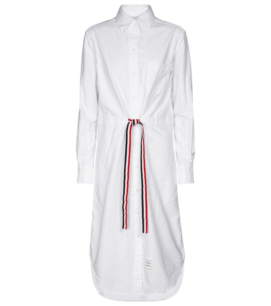 Drawstring cotton shirt dress