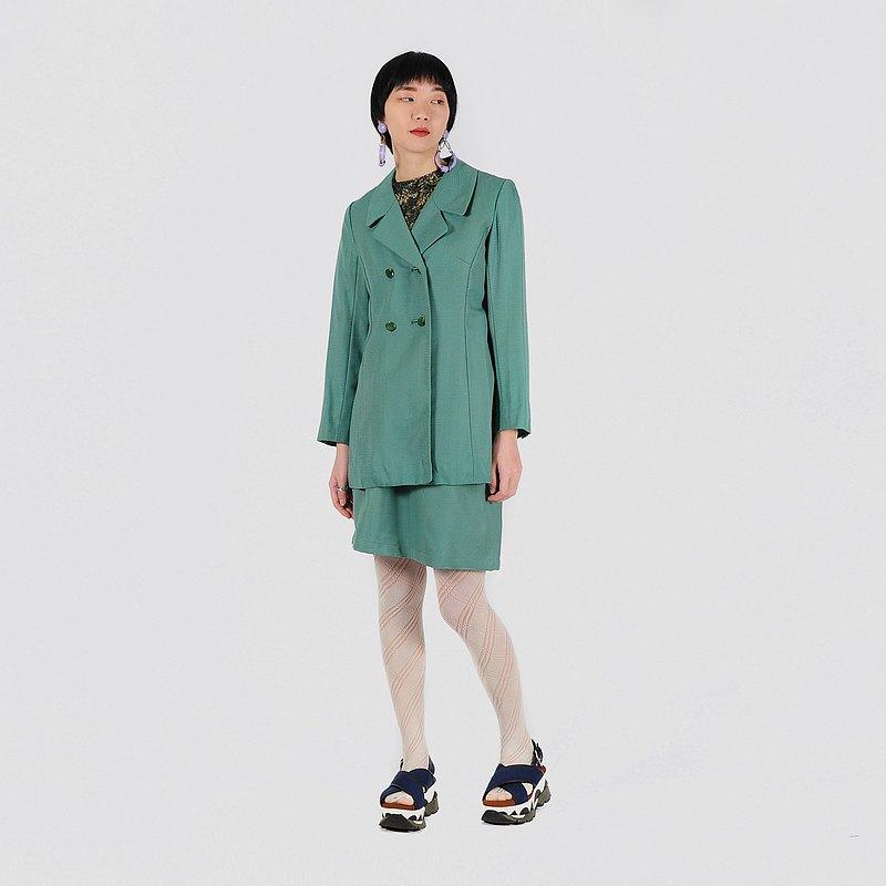 【蛋植物古著】湖水晴光薄毛裙式古著套裝