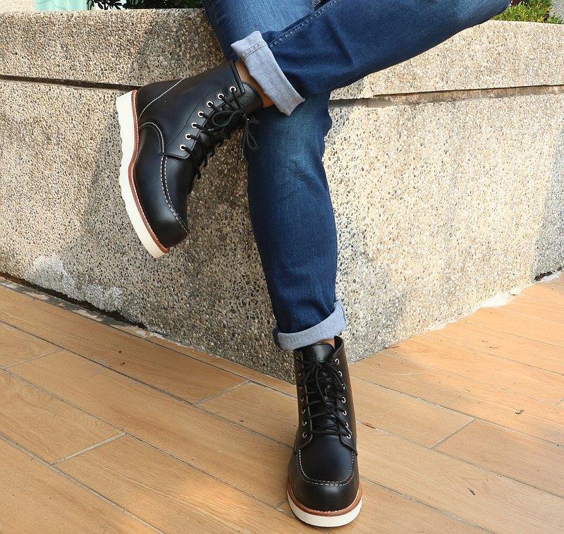 MIT【真皮工裝靴-男款黑】美式 英倫風 馬丁鞋 休閒靴  經典復古