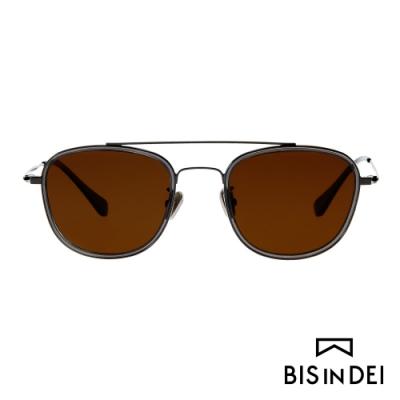 BIS IN DEI 個性黑粗方框太陽眼鏡-鐵灰邊橘
