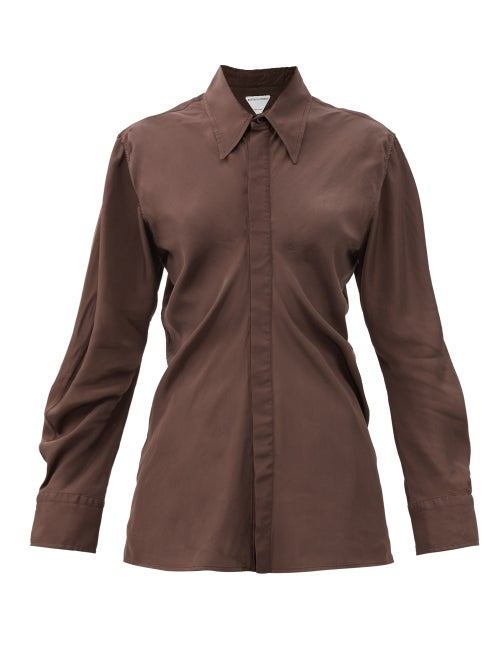 Bottega Veneta - Gathered-back Balloon-sleeve Poplin Shirt - Womens - Brown