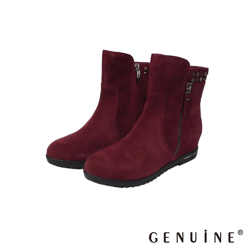 GENUINE 女款 酒紅色 牛反毛皮鉚釘飾釦短靴-F580501