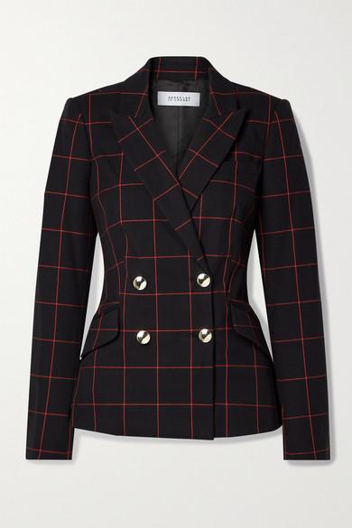 Derek Lam 10 Crosby - Ady 双排扣格纹棉质混纺斜纹布西装外套 - 黑色 - US2