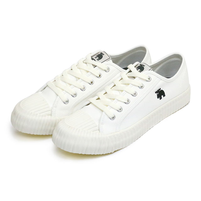 moz瑞典 駝鹿綁帶式帆布餅乾鞋(經典白)