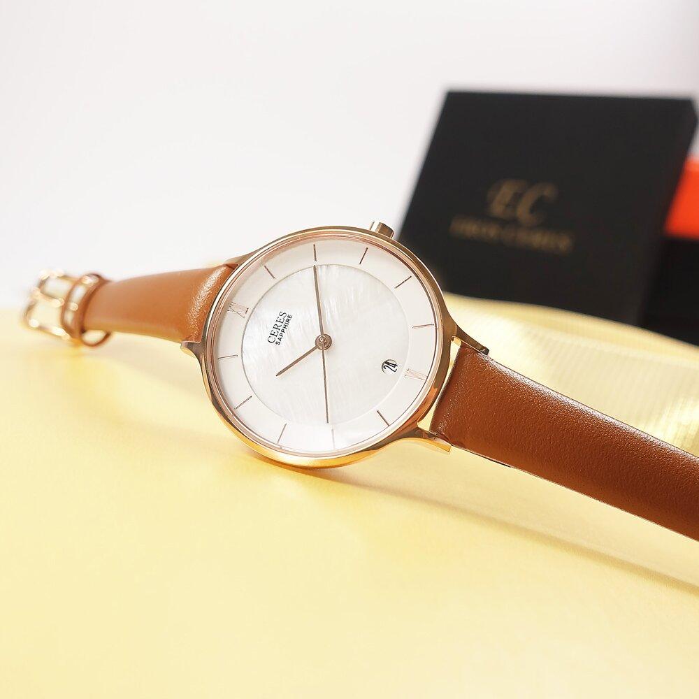 EROS CERES 贈錶帶 / LQ3323RG-WP / 珍珠母貝 米蘭編織不鏽鋼手錶 禮盒組 銀白x玫瑰金 33mm