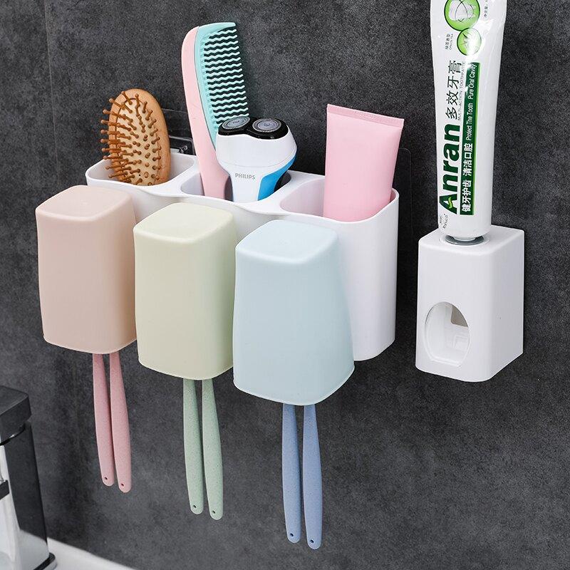 掛壁牙刷架置物架 三口之家四口洗漱套裝 強力魔術膠洗漱架漱口杯1入