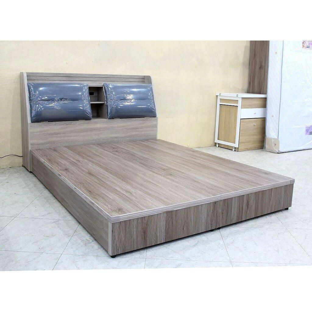 【歐風別館】野村五尺灰橡色貓抓皮雙人床頭箱+六分木心板床底【基隆至台中免運費】