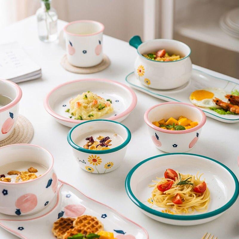 高顏值水蜜桃碗碟餐具家用小清新陶瓷米飯碗