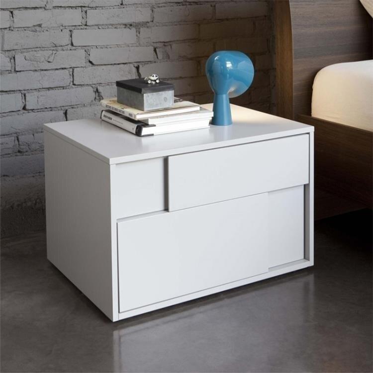 床頭櫃 簡約現代臥室創意床頭櫃白色鋼琴烤漆床邊櫃北歐儲物櫃個性收納櫃 DF 艾維朵