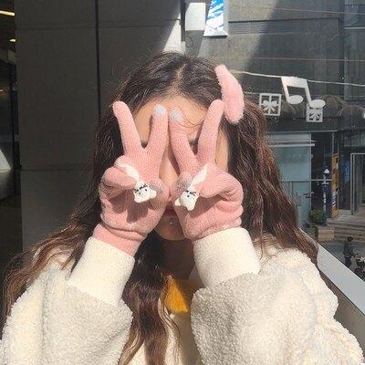 保暖手套 韓版五指手套冬天女萌翻可愛貓日系加絨保暖針織手套騎行