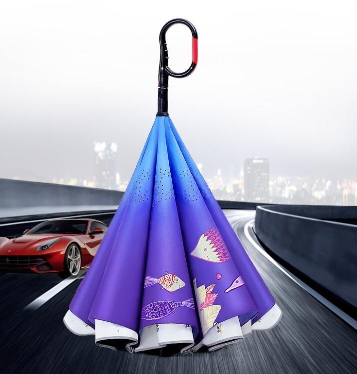 免持式全自動雨傘男大號反向傘長柄女晴雨兩用黑膠防紫外線太陽傘