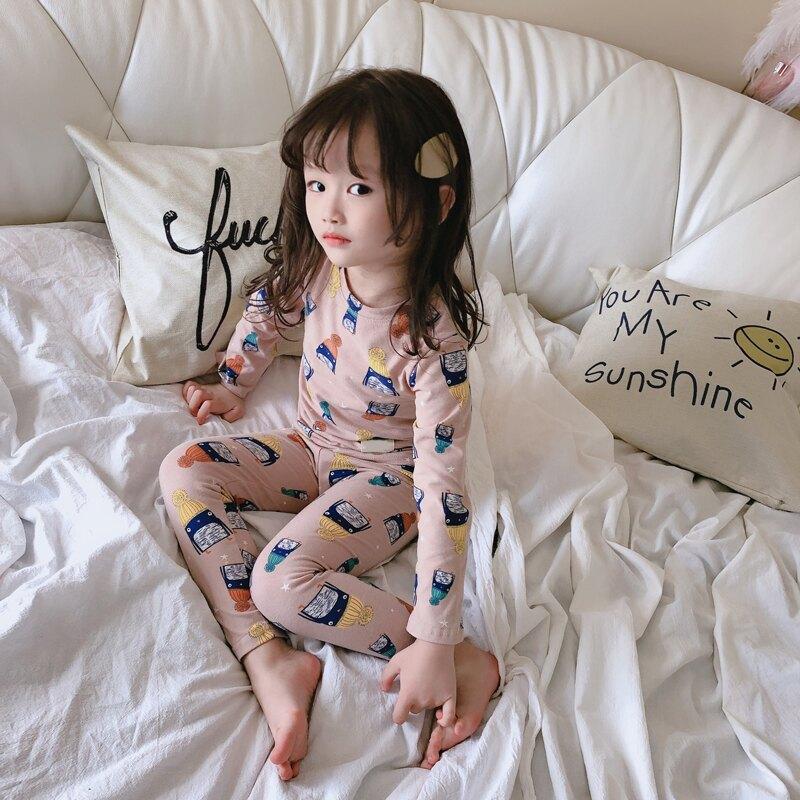 2019秋季新款 男女童家居服睡衣套裝 兒童卡通T恤+舒適長褲兩件套1入