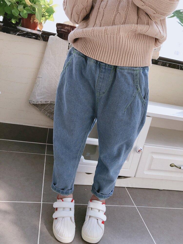 童裝2019春秋季新款女童舒適修身寶寶褲子 中小童氣質兒童牛仔褲1入