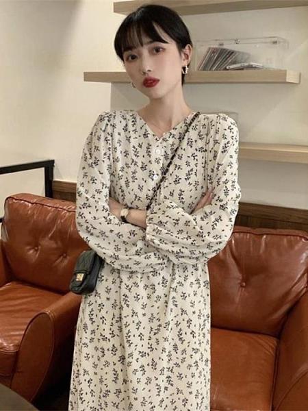 2020年新款復古打底裙子內搭秋冬季氣質碎花法式赫本風洋裝女裝 korea時尚記