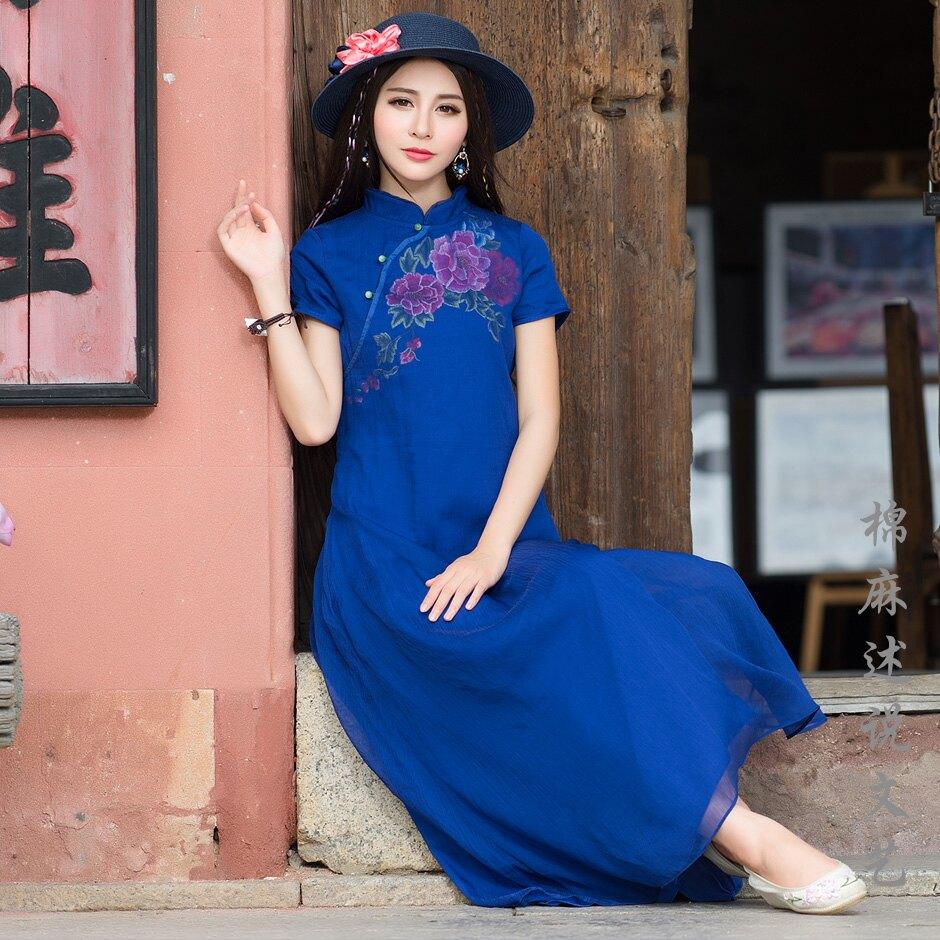夏季新款女裝繡花天絲皺立領旗袍短袖長袍民族風連衣裙長裙子1入