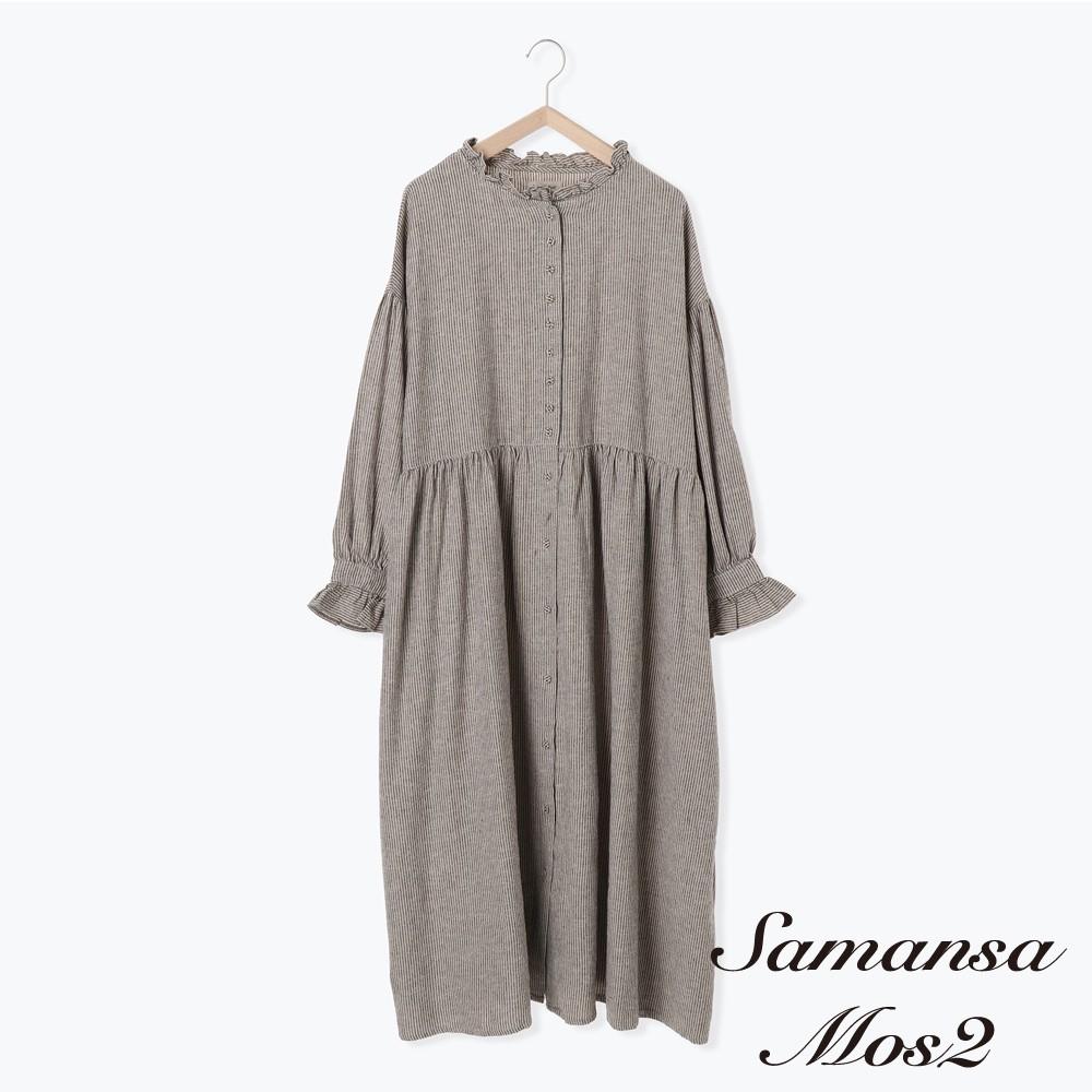 Samansa Mos2 棉麻混紡荷葉摺邊領蓬袖開襟洋裝(FL03L0H0780)