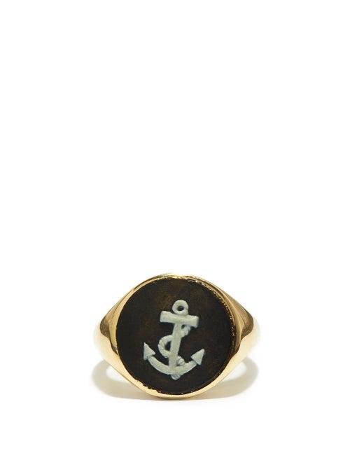 Ferian - Anchor Wedgwood Cameo & 9kt Gold Signet Ring - Womens - Black White