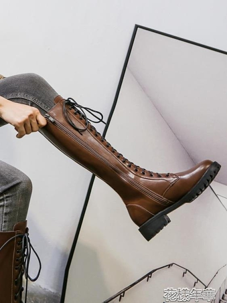 新款長靴女不過膝馬丁靴春秋單靴棕色瘦瘦騎士高筒長筒靴子 【小美日記】