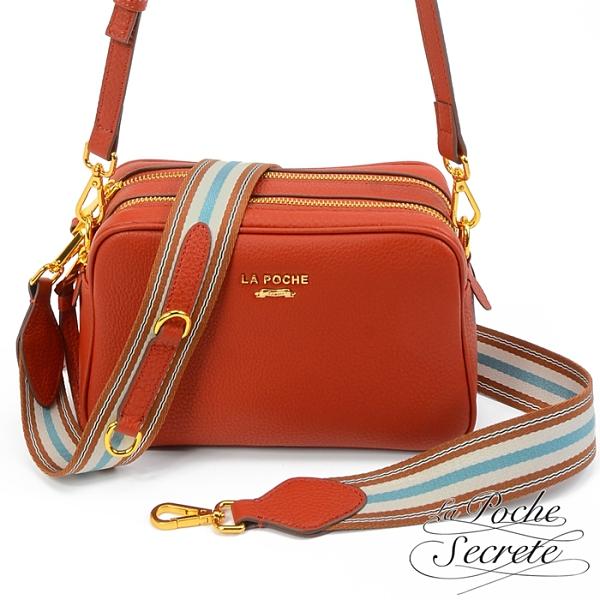 La Poche Secrete側背包 簡約真皮雙拉鍊織帶2WAY側斜背相機包-楓紅橘 BMC-5012N