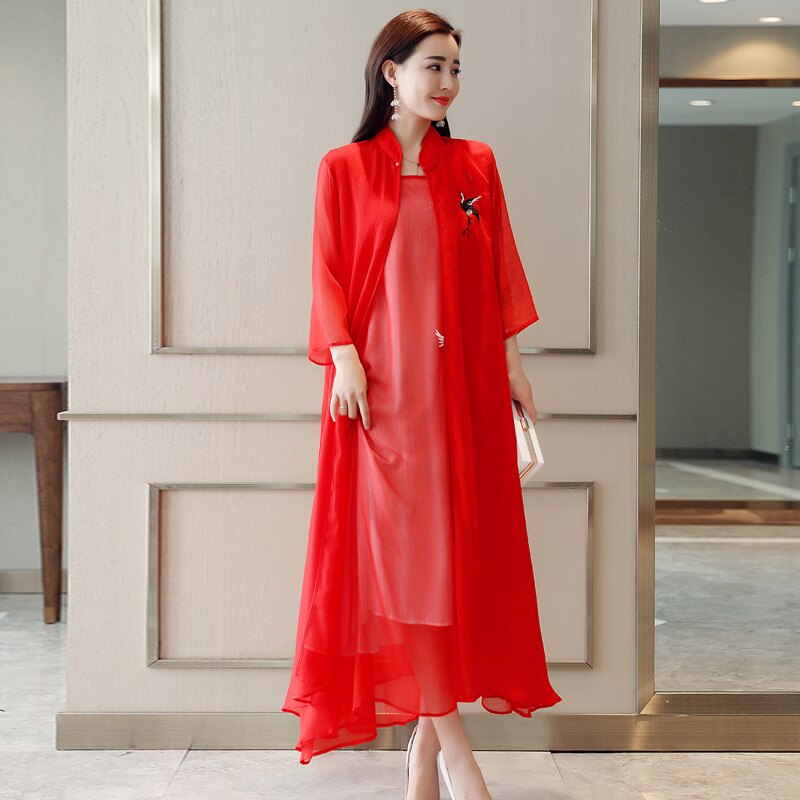 中國風夏季新款原創設計民族風女裝繡花寬松外搭中長薄款外披外套1入