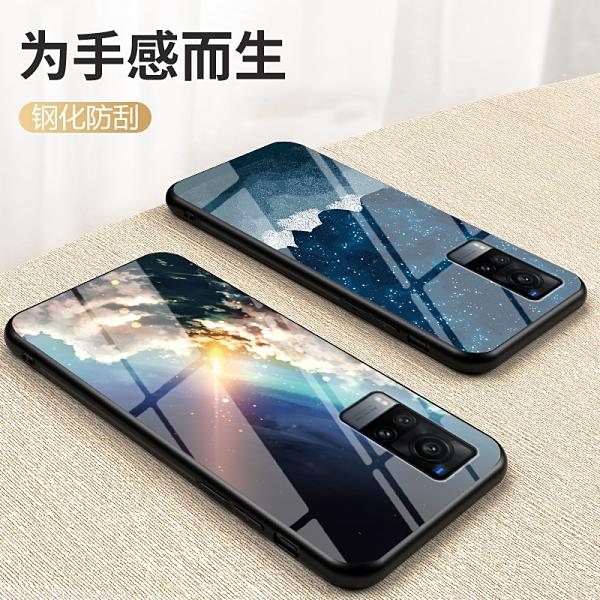 vivo X60 Pro 手機殼 軟邊玻璃鏡面星空情侶 超薄全包防摔保護套 冷淡風個性創意潮牌