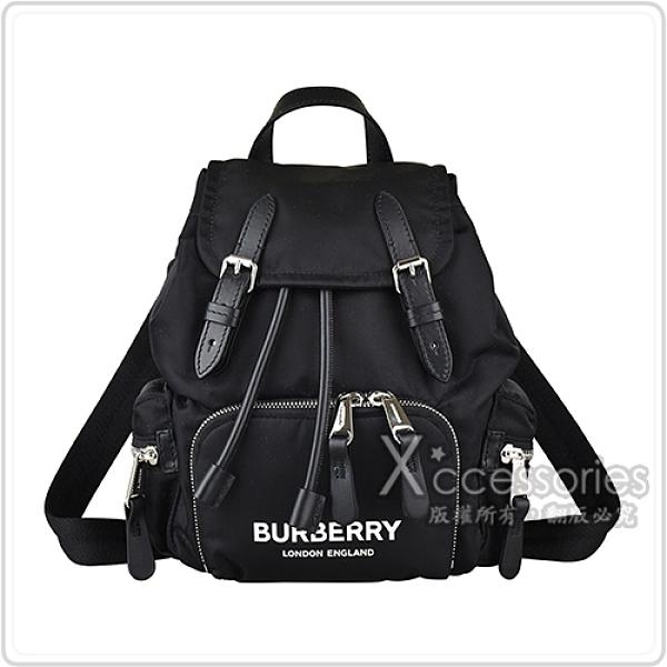 BURBERRY THE RUCKSCK白字印花LOGO帆布束口後背包(小/黑)