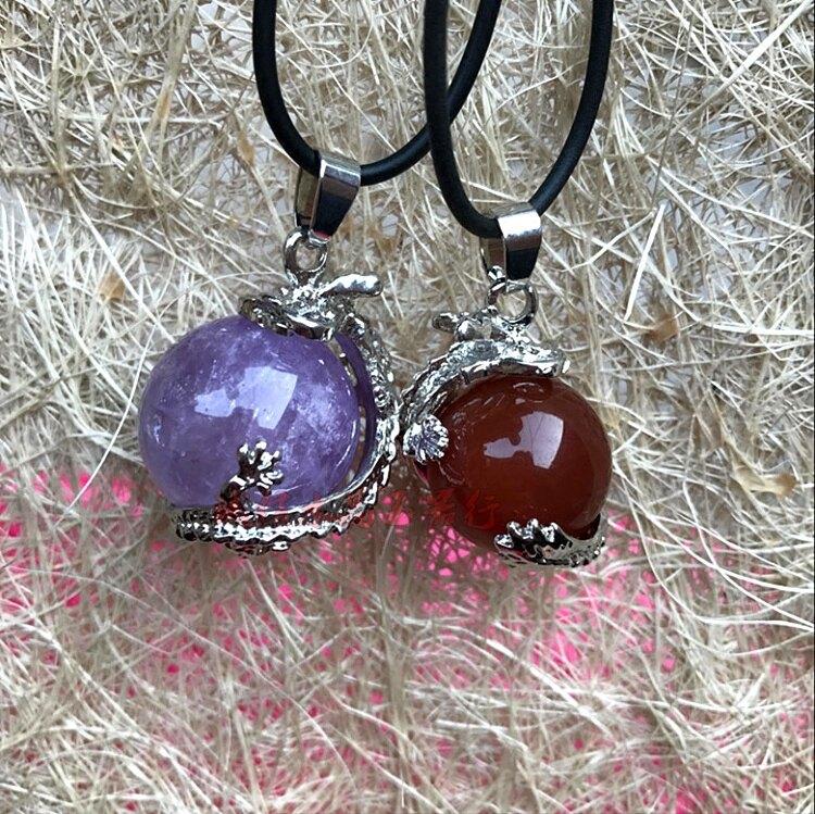 天然水晶粉晶紫晶紅瑪瑙日月星辰龍珠轉運珠吊墜  龍掌上明珠吊墜1入