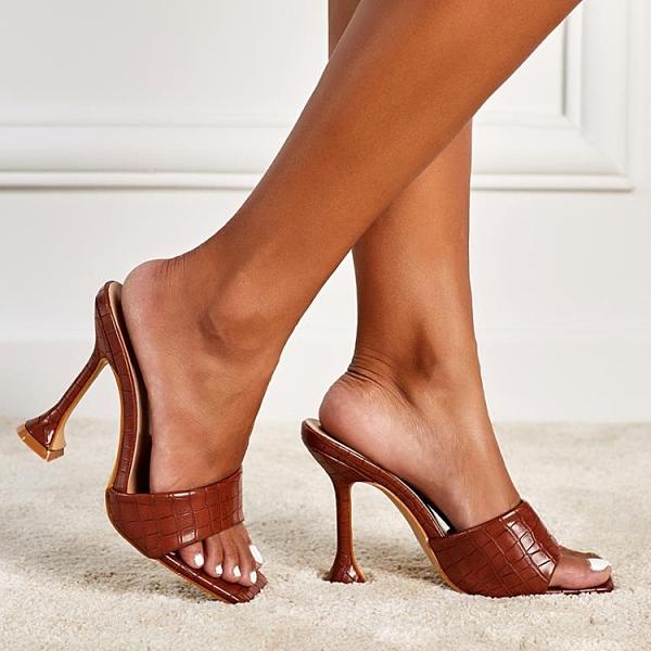 促銷九折 2021夏季新款高跟酒杯跟方頭韓版時尚淑女35-42大碼歐美女拖鞋