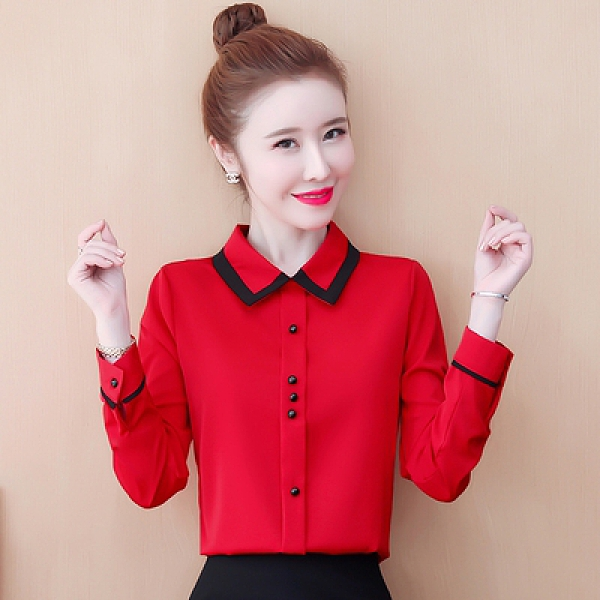 長袖襯衫韓版女洋氣雪紡衫修身襯衣百搭長袖氣質打底襯衫上衣N120莎菲娜