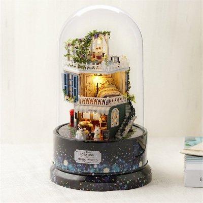 迷妳玻璃球手作小屋 聖誕禮物 帶音樂盒 藝術屋 房子模型 diy小屋 旋轉音樂 手工小屋 創意 禮品 帶燈LED模型屋【米創家居】JKF2023GF