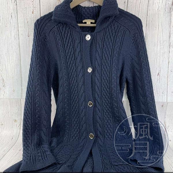 BRAND楓月 BURBERRY BRIT 博柏利 藍色針織外套 高領 翻領 金屬釦 中長版 100%美麗奴羊毛 #S