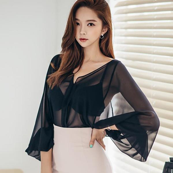 上衣2021年新款女秋氣質性感v領微透寬松顯瘦洋氣黑色雪紡衫