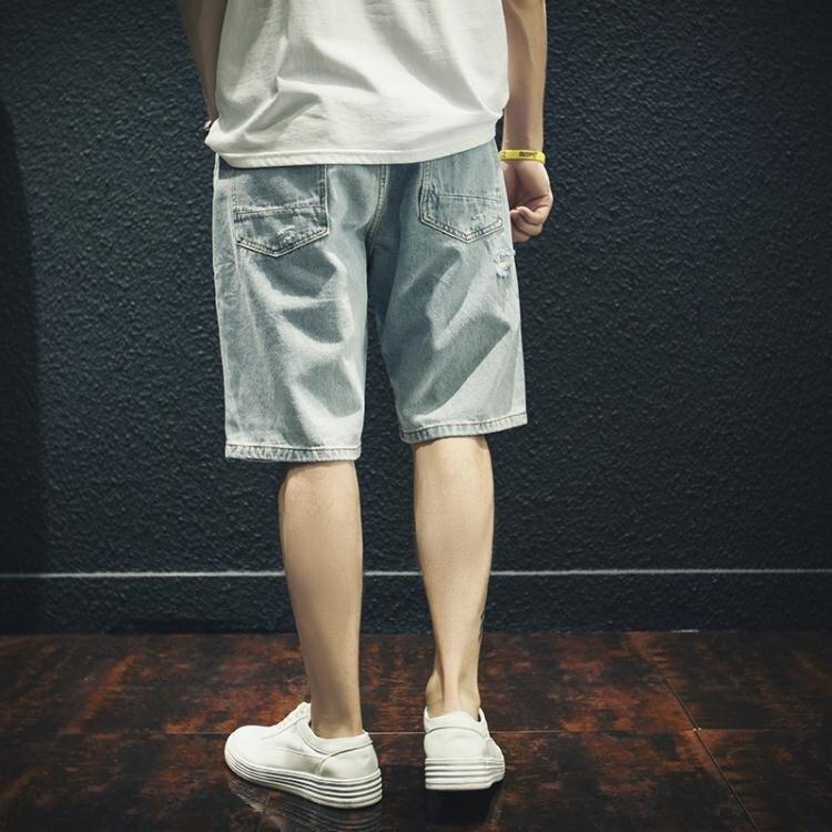 牛仔短褲 破洞牛仔短褲男寬鬆潮流外穿五分褲5分中褲馬褲潮夏季薄款【全館免運 七五折鉅惠】
