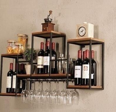 酒架 吊櫃酒架家用壁掛實木紅酒裝飾酒櫃吧台酒杯擺件酒格架葡萄酒 DF