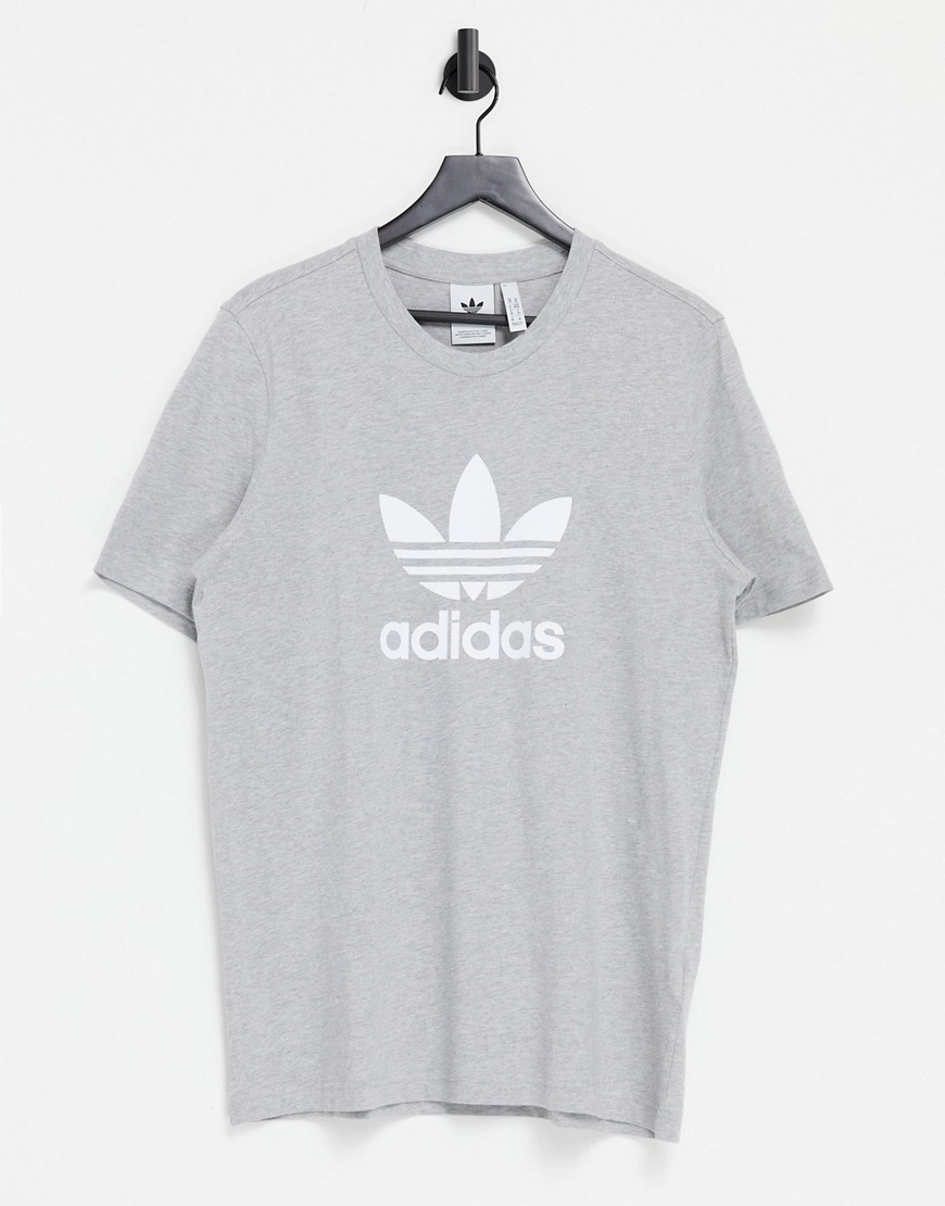 adidas Originals adicolor t-shirt in grey heather with large logo
