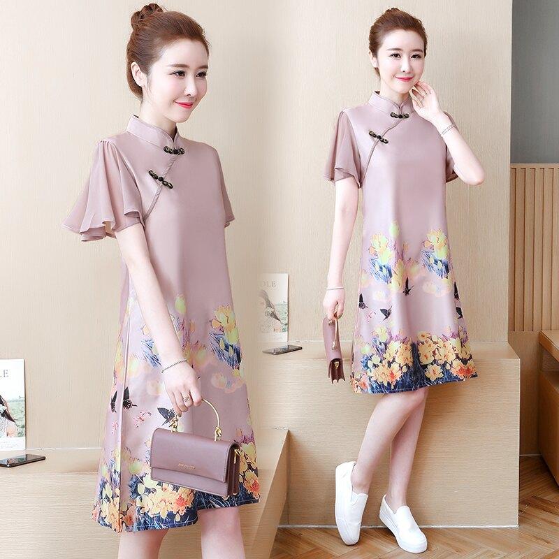 夏季新款少女中國風復古印花日常改良旗袍小香風民族風連衣裙1入