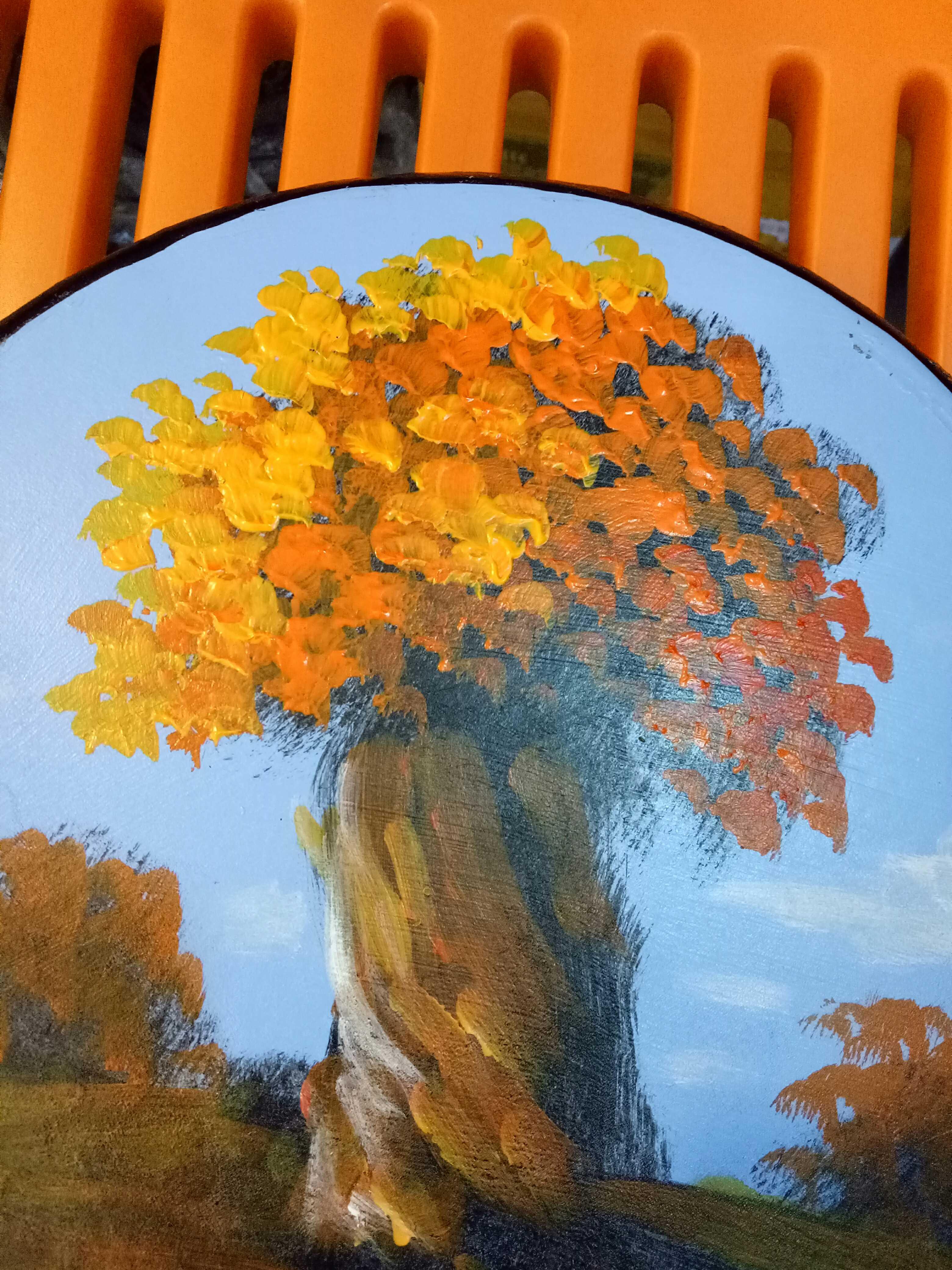 新疆手工彩繪胡楊林風景畫裝飾工藝品手鼓擺件西域特色禮品紀念品1入