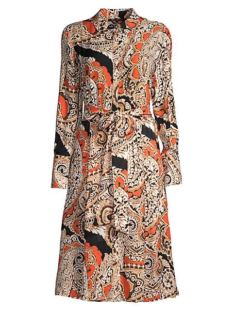 Madi Paisley Long-Sleeve Shirt Dress
