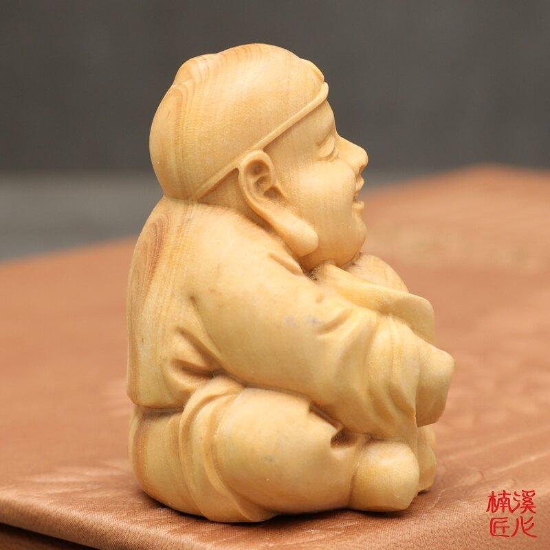 楠溪匠心黃楊木雕刻小財迷手把件抱金元寶財主擺件實木把玩文玩件1入