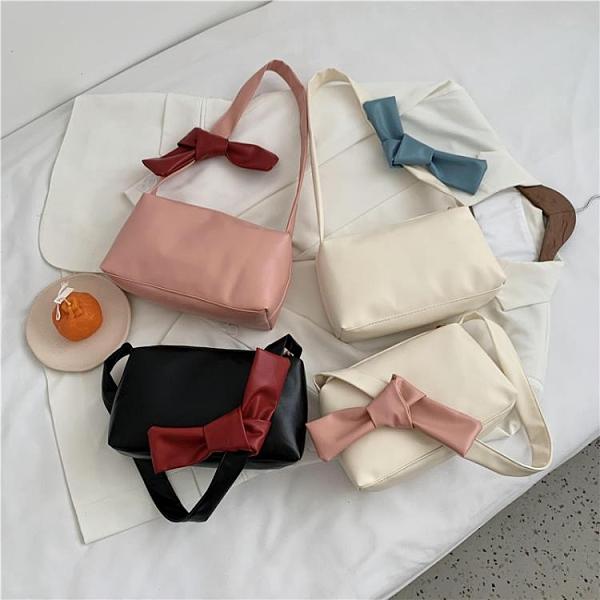 2021新品促銷 新款腋下包法棍包蝴蝶結白色包包女新款單肩包拉鏈手提包