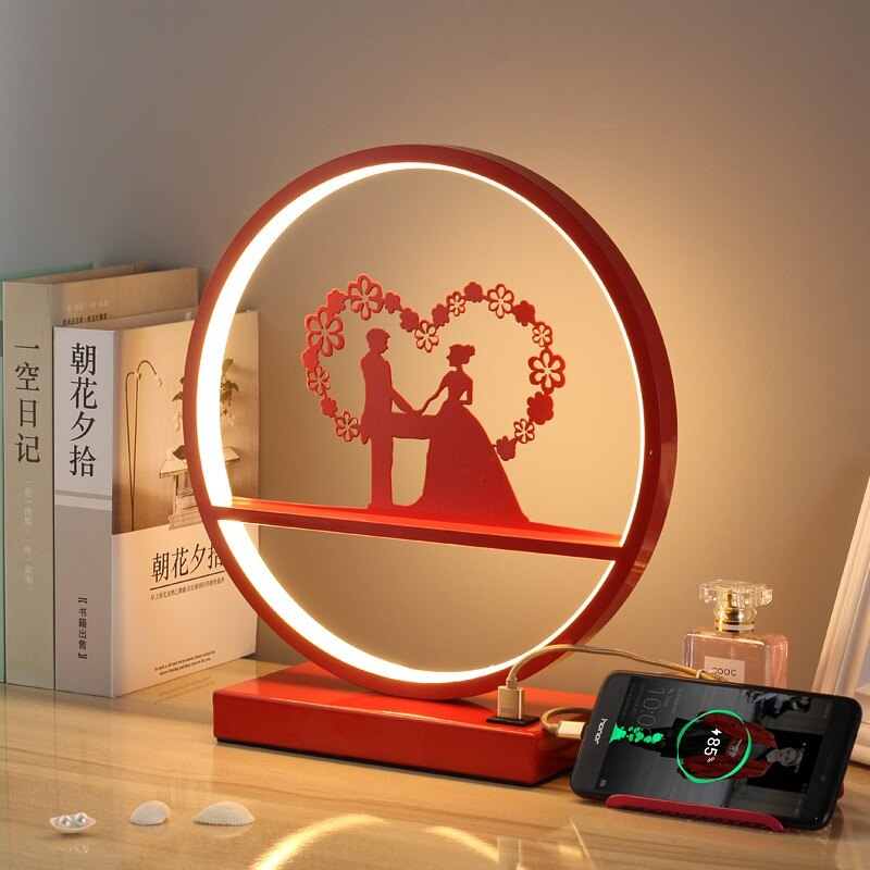 新店五折 結婚臺燈婚房臥室床頭燈簡約長明燈婚慶禮物浪漫嫁妝婚燈紅色 燈