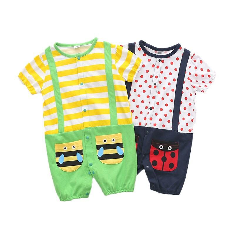 短袖連身衣 蜜蜂瓢蟲 兩件式連身裝 棉質寶寶童裝 XE2531 好娃娃